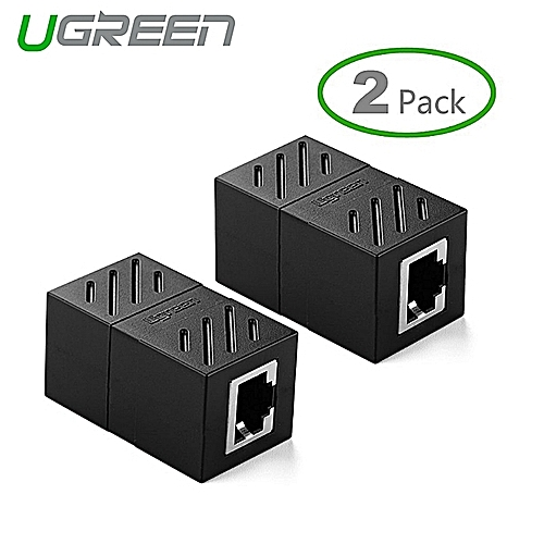 2Pack In-Line Coupler Cat7/Cat6/Cat5e Ethernet Cable Extender Adapter -Black By HonTai