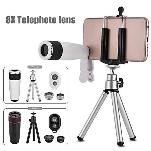 10 In 1 Phone Camera Lens Kit Universal Clip Fish Eye Wide Angle Macro 8X Telescope Lens Black