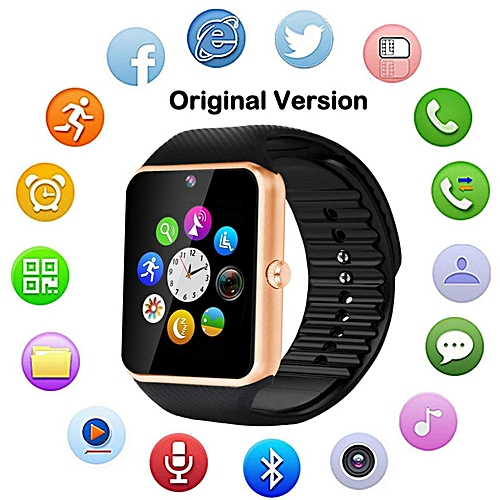GT08 Smart Watch For Apple IPhone, IOS & Android Devices Sim Card - Gold