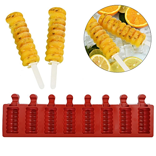 8 Cavity Ice Cream Mold Silicon With Popsicle Molds