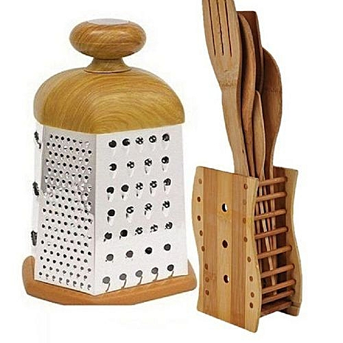Wooden Grater And Wooden Spoons Set ( Design May Vary)