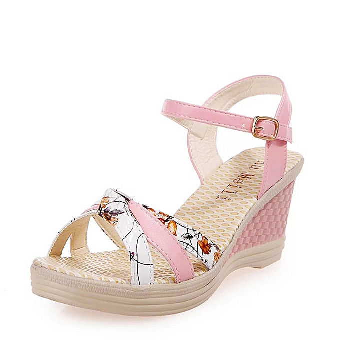2a7b35562ff8ce Fohting Ladies Women Wedges Shoes Summer Sandals Platform Toe High-Heeled  Shoes -Pink