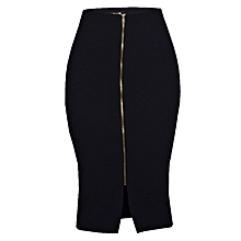 Front Zip-Through Slit Pencil Midi Skirt - Black