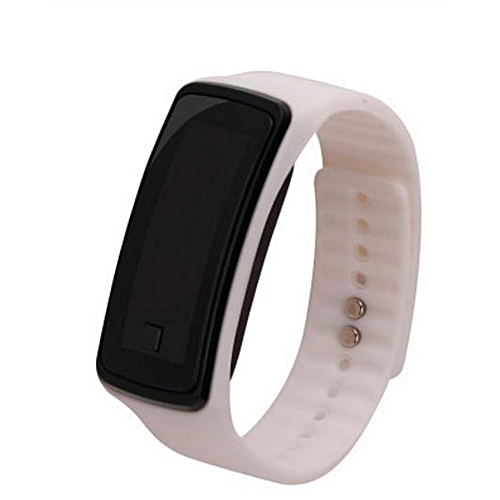 Unisex Silicone Digital Sports LED Watch - White