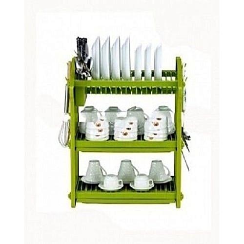 3 Step Plastic Dish Rack - Green