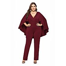 2cea9130606 Sexy Women  039 s Loose Bat Sleeve V-collar Jumpsuit-wine