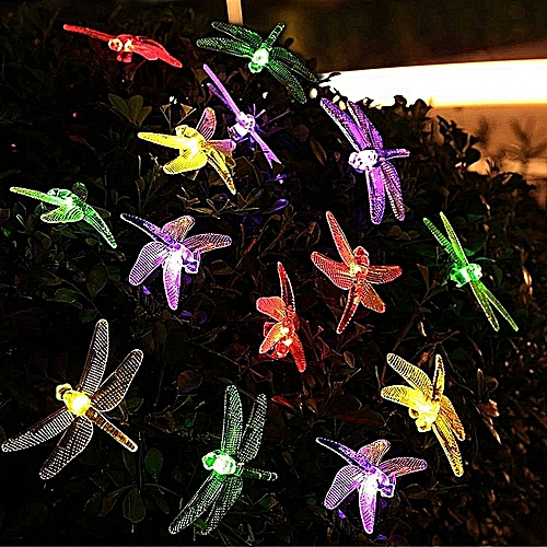 House Decor5M 20LED Solar Hard Dragonfly Light String Christmas Wedding Party Decoration-as Shown