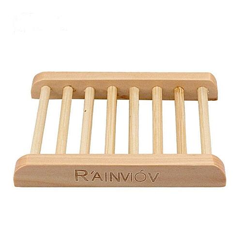 WangWang Store Trapezoid Natural Wood Soap Holder Soap Box Rectangle Dish Bath Accessories