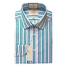 c31b49228ec31 Men  039 s Turquoise  amp  White Stripe Slim Fit Shirt ...