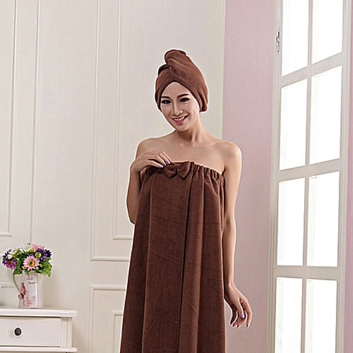 140x75cm Microfiber Bowknot Pattern Towel Sheet Set Absorbent Bathrobe With Shower Cap