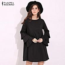 8f0c69f6358 ZANZEA Elegant Womens Flared Long Sleeve Mini Dress Casual Loose Ladies Solid  Party Straight Shift Dress