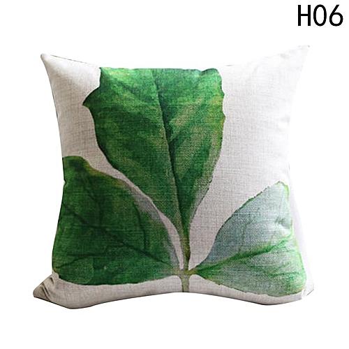Eleganya New Creative Simple Leaves Printing Fashion Chic Linen Pillow Case H06