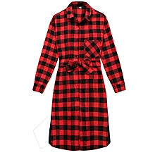 6ea72accf6c Fashion Women Lady Long Sleeve Plaid Check Straight Tunic Casual Blouse  Shirt Dress With Belt-