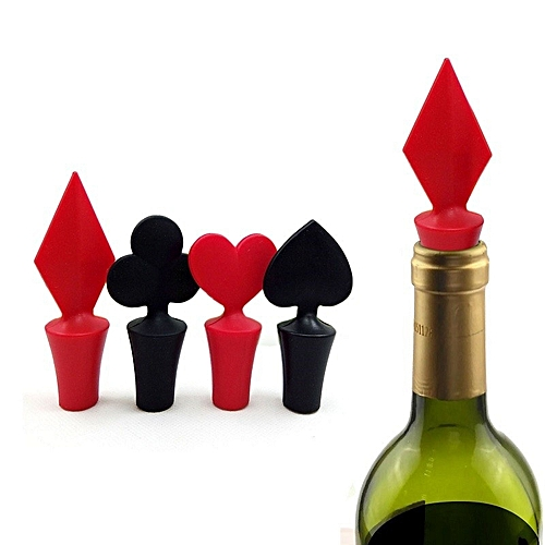 Poker Shaped Wine Stopper 1 Piece Silicone Vacuum Sealed Wine Stopper Bar Tools