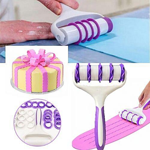 Cutter Sugarcraft Rolling Pin Embosser Cake Supply Roller Decorating Baking Tool