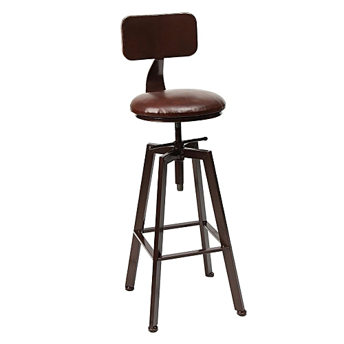 Iron Bar Chairs Solid Wood Bar Stool Retro Industrial Design Rotating Lift High Chair Dining Bronze