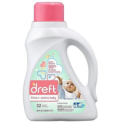 Dreft Stage 2: Active Hypoallergenic Liquid Baby Laundry Detergent (HE), 50 Ounces (32 Loads)