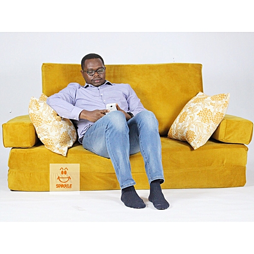 3 Seater Sofa Bed Chair - Mustard Yellow