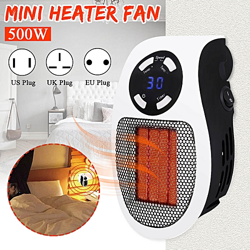 500W Mini Space Heater Fan Electric Winter Warmer Air Blower 2 Speeds Timing --- US / EU / UK Plug