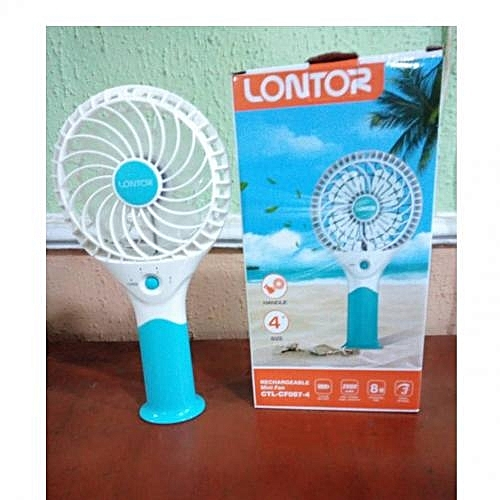 """4"""" Rechargeable Mini Standing/Hand Fan With Lithum Battery"""