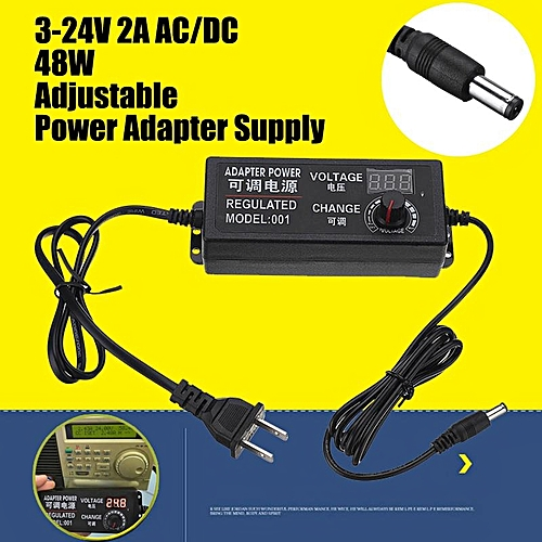 AC/DC Adjustable Power Adapter Supply 3-24V 2A 48W Speed Control Volt Display