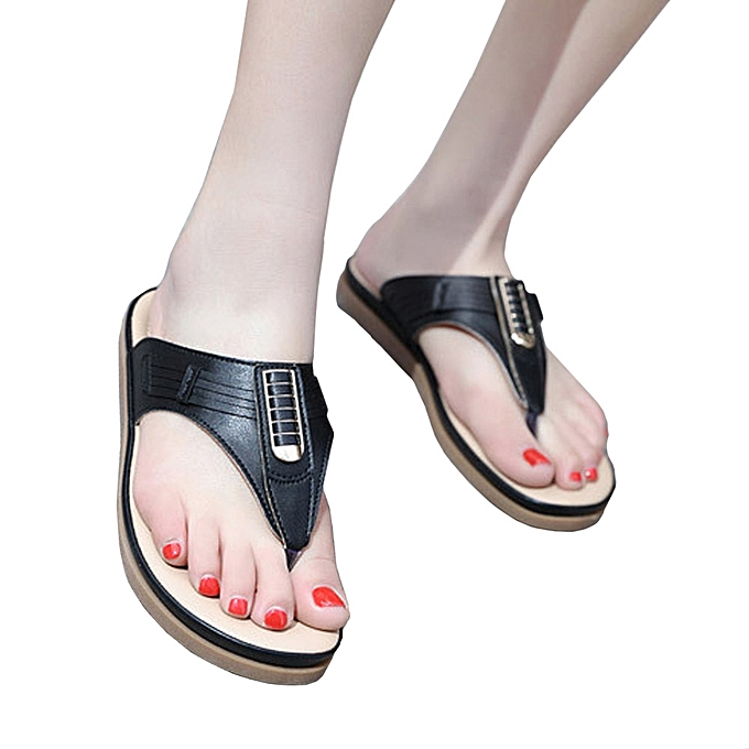a8fd1d1f8379a2 ... Blicool Shop Shoes Summer New Sandals Womens Shoes Bohemian Wedge Flops  Buckle Beach Sandals -Black ...