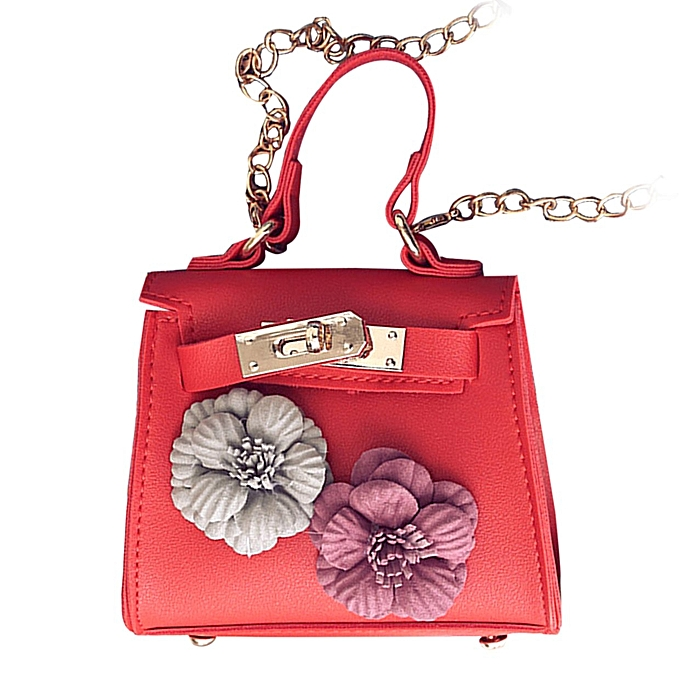 ace40da1550 PU Leather Tote Handbag Flower Decoration Women Crossbody Shoulder Bag Red