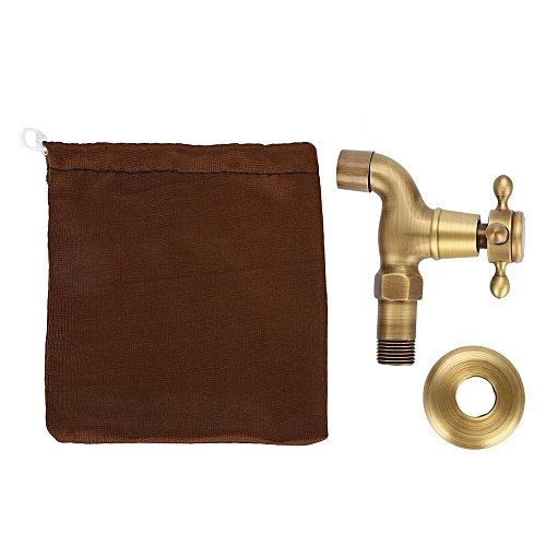 Wall Mounted Vintage Solid Brass Faucet Single Cold Water Tape For Kitchen Sink Mop Pool(Short)