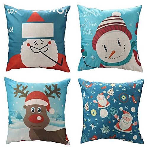 Fashion Christmas 18 X 18 Inches Santa/Reomdeer/Snowman/Merry Christmas Decorative Sofa Throw Pillow Case Covers Linen Cushion Set Of 4