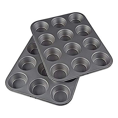 Nonstick Carbon Steel Muffin Pan Set Of 2, 12 Cups Each
