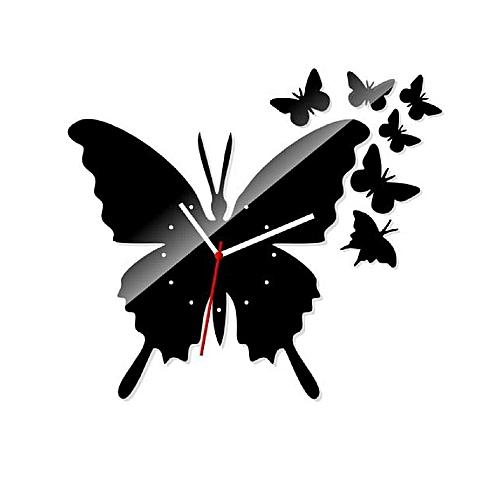 Three Digits Decorative 3D Acrylic Wall Clock MX044 Black