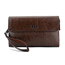5fcefd4042 Men Clutch Bags Leather Wallet Mobile Phone Money Bag Coffee