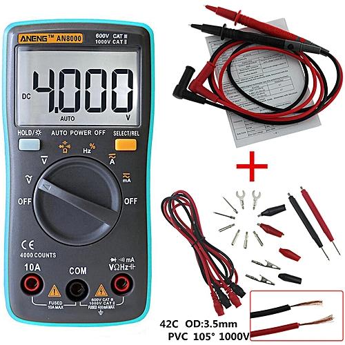 Digital Multimeter 4000 Count Backlight AC/DC Ammeter Voltmeter Frequency Tester