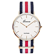 Used, Geneva Unisex Canvas Band Watch Men Women Fashion Sport Casual Wrist Watch Unique Business Quartz Watches - Blue/White/Red for sale  Nigeria