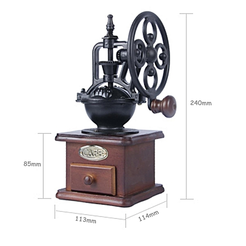 Vintage Grinder Manual Coffee Bean Grinding Machine Hand Wooden Retro Burr Mill