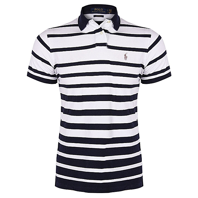 641ff1986 Ralph Lauren Men's Custom-Fit Stripes Polo Top - White | Jumia NG