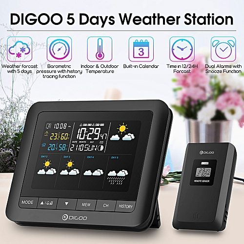 Digoo Five Day Forecast Wireless Weather Station Barometer Humidity Temp Sensor Black