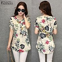 f5e1a721 ZANZEA Women Blouses Summer Vintage Print Blusas Shirts O Neck Short Sleeve  Roll Up Casual Tees