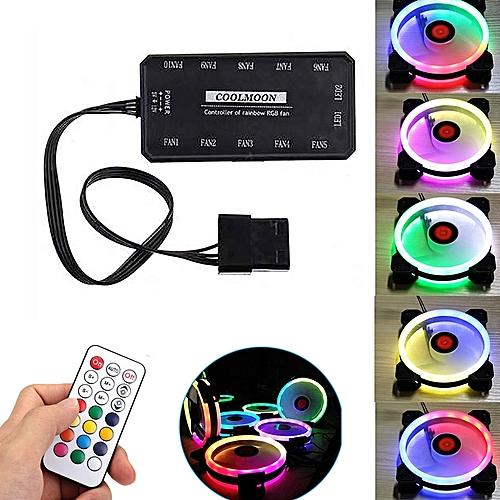 RGB Remote Control Computer Cooling Fan - Black