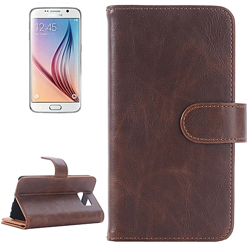 Generic For Samsung Galaxy S6 / G920 Oil Skin Texture Horizontal Flip Magnetic Buckle Leather Case With 3 Page Card Slots & Wallet & Holder (Brown)