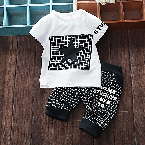 Tectores 2Pcs Infant Kid Boys Girl Letter Star Print Plaid Tops+Pants Outfits Clothes Set Gift