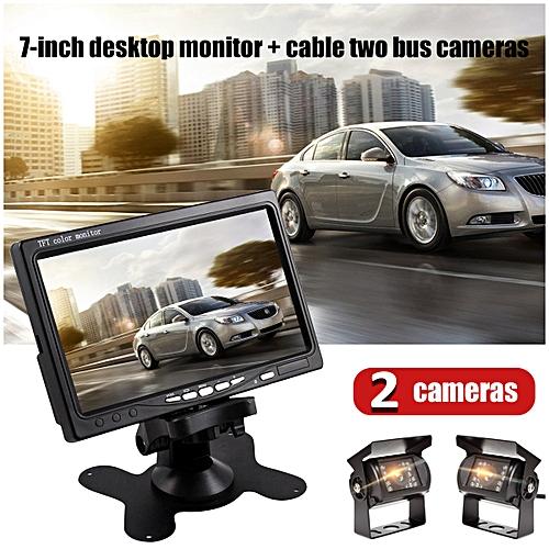 7'' LCD Car Rear View Backup Monitor + 2X Wired Parking Night Vision Camera Kit