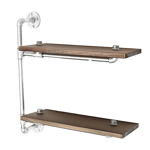 Industrial Metal 2 Tier Storage Pipe Wall Shelf Shelving Cupboard Display Unit Silver