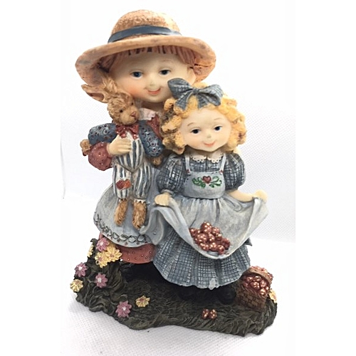 Figurine : Sisters In Blue Holding A Teddy
