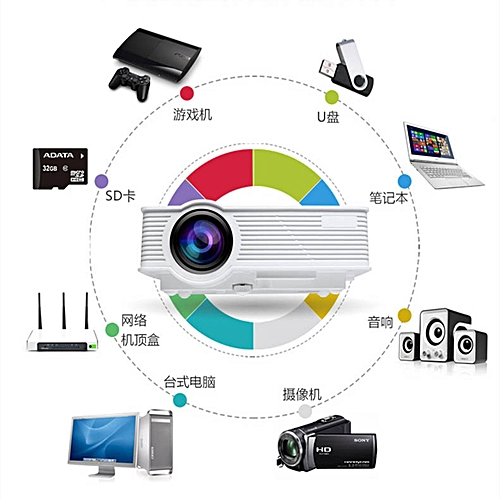 ELE Home Projector HD 1080p Wireless Wifi Smart LED Micro - 3D Mobile Phone Multimedia LCD Projector