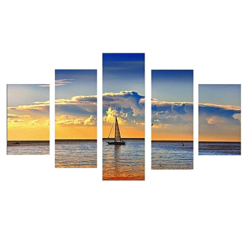 5pcs Sea Sunset Sailboat Oil Painting Canvas Wall Art Printed Picture Home Decor