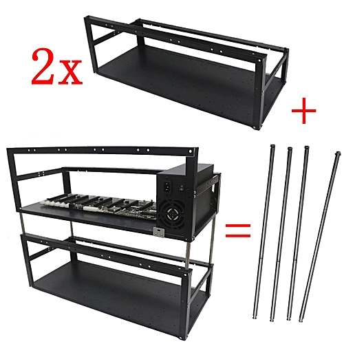 2 X Stackable 8 GPU Mining Rig Case 5 Fans Open Air Frame ETH/ZEC/Bitcoin Mining Computer Case Frame+ Stacking Accessories