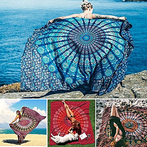 Honana WX-99 New 150x210cm Bohemian Style Polyester Fiber Beach Towel Mat Tapestry Mandala Rectangle Bed Sheet