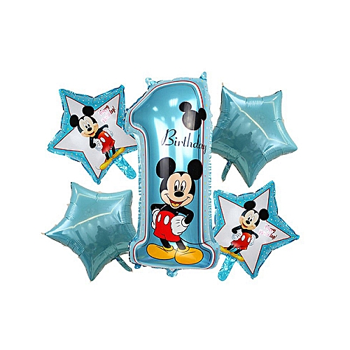 Mickey Happy Birthday Balloon Decoration Set (5pcs, 1 Straw)-Blue