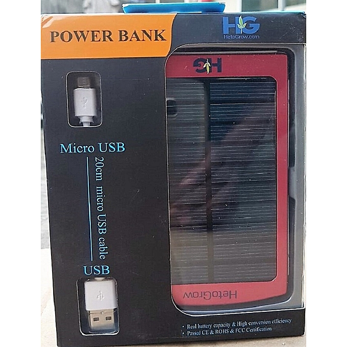 Solar Power Bank Charger 6000 MAh - Red, From HetoGrow